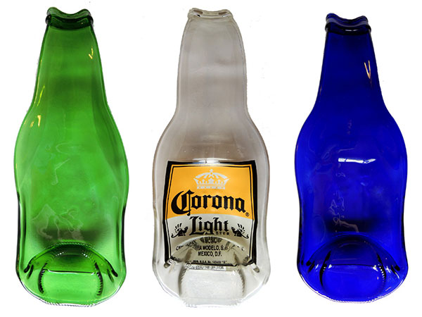3 spoonrests made from upcycled beer bottles - in green, blue, and corona light designs