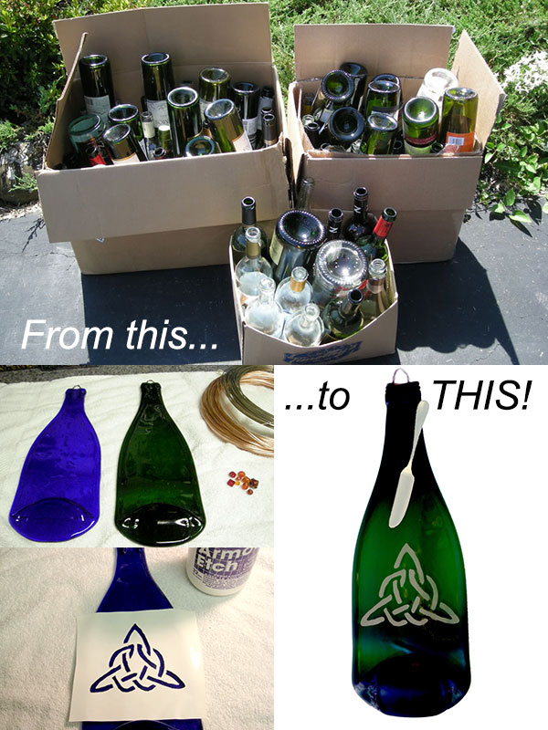 wine bottles are upcycled to become useful pieces of art!